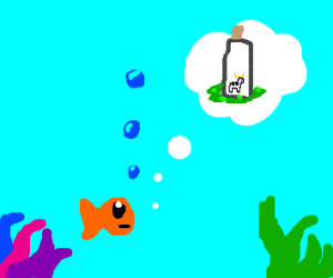Small cow in bottle that fish is think about