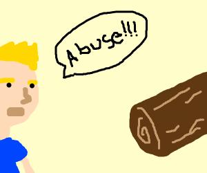yelling abuse at a log
