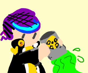 man with purple hat dumps toxic waste