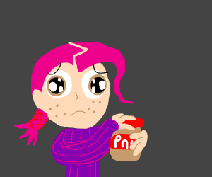 Pink haired guy can't open peanut butter jar