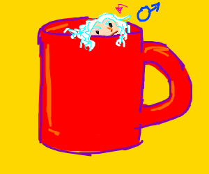 man in white curly wig inside of a mug