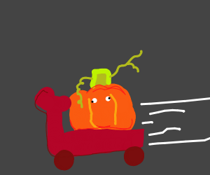 Pumpikin on a scooter