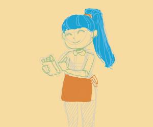 Blue haired waitress