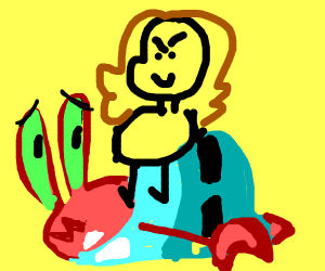 girl stands on top of mr.krabs