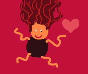 A black dark curly girl falls in love