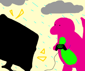 barney playing the xbox in the rain