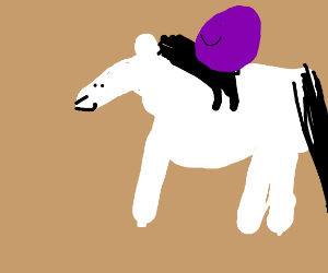 a grape riding a white horse