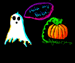 ghost stares at pumpkin and says hola my bubs