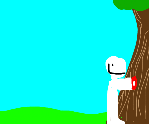 Man with bleeding arm loves trees