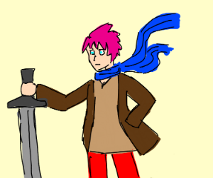 anime dude with pink hair and a big sword