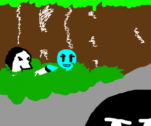 blue woman and horse in bush