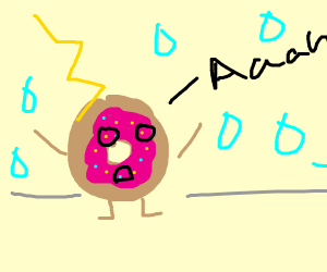 Screaming doughnut in a thunderstorm