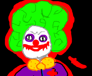 Clown with green afro