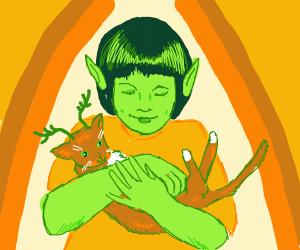 Alien girl holding horned cat