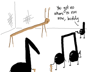 stick bug attacked by musical notes