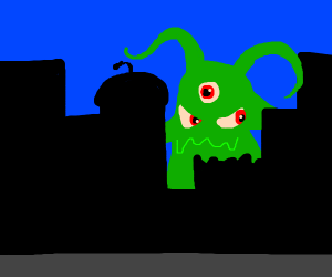 Monster Destroying the City