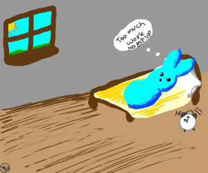 Blue Peep bunny is too lazy to get up