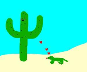 lizard flirts with cactus