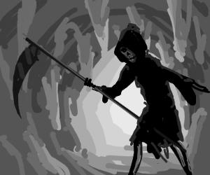 the grim reaper in a cave