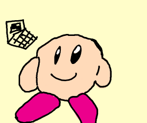 kirby poyo with the laptop