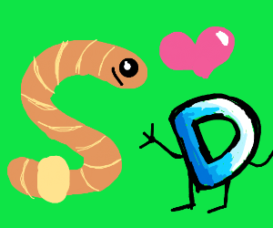 a Worm in love with drawception D