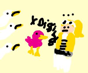Pink bird dissing Chloe. Other birds unhappy.