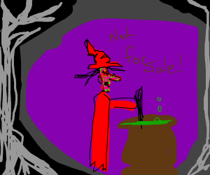 Angry witch won't sell you pot of glub