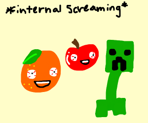 Orange and Apple smile at a Creeper