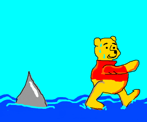 Winnie the pooh chased by shark