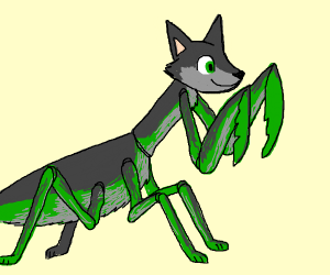 Praying mantis with wolf head