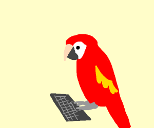 Macaw playing a computer
