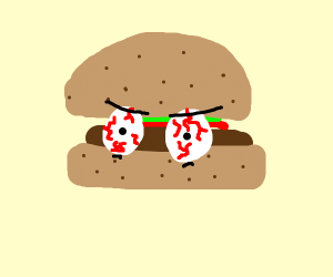 burger with eyes