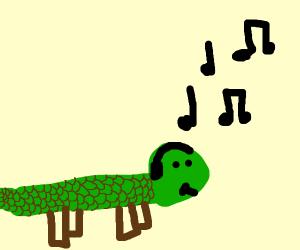 alligator listsening to music