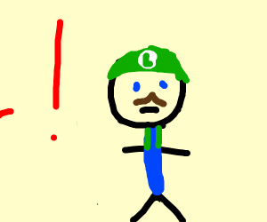 Luigi with an exclamation mark beside him