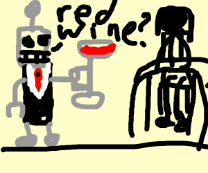 Robot Waiter offers red wine.
