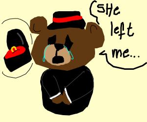 Crying divorced teddy bear
