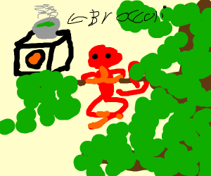 Red monkey cooking broccoli that is also monk