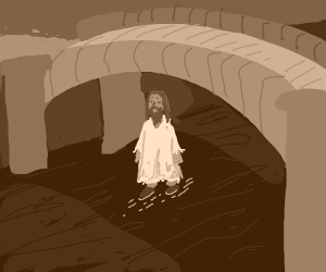 jesus walking on water under a bridge