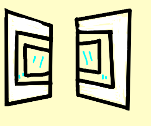 Two mirrors in opposite direcions