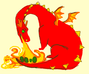 A dragon cooking its eggs