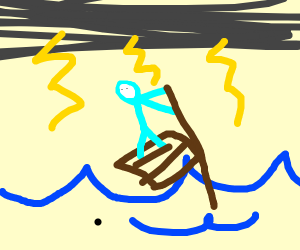 Blue man on a raft, the ocean is stormy