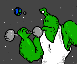 Buff alien working out