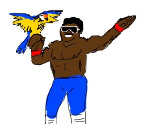 Wrestler with a Parrot