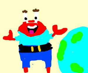 Mr. Krabs floating towards earth