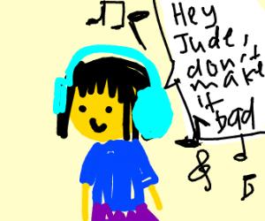Girl listening to hey jude