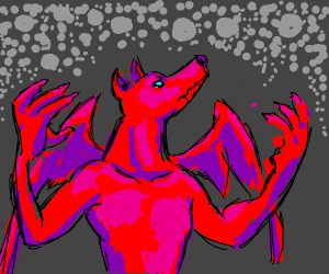 Red demon dog with wings