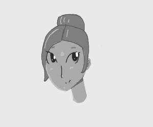 Cute monochrome girl with hair bun