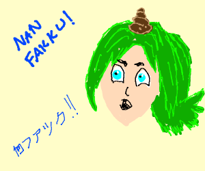 Anime girl with poo on her head says wtf