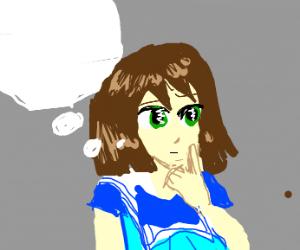 Anime girl thinking