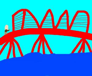 someone crossing bridge